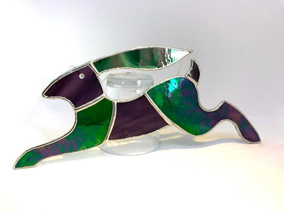 Large Iridescent Green And Amethyst Purple Stained Glass Running Hare Suncatcher, Wall Decoration, Unusual Country Style Ornament