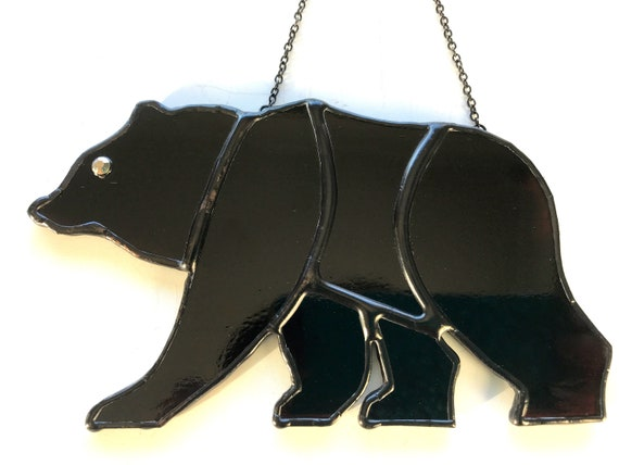 Trooper - The Grizzly Bear Stained Glass Suncatcher, Window Ornament, Wall Decoration, Bear Collector Gift
