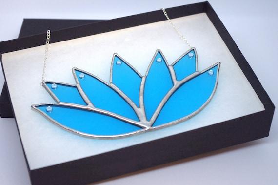 Beautiful, Calming Aquamarine Lotus Flower Handmade Stained Glass Suncatcher, Karma Gift
