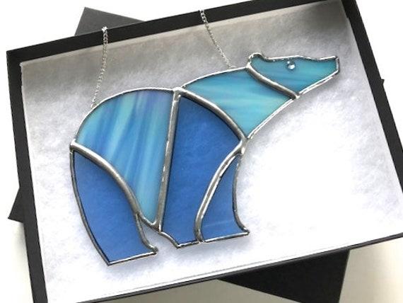 Iridescent Polar Bear Stained Glass Suncatcher, Window Ornament, Wall Decoration, Bear Collector Gift