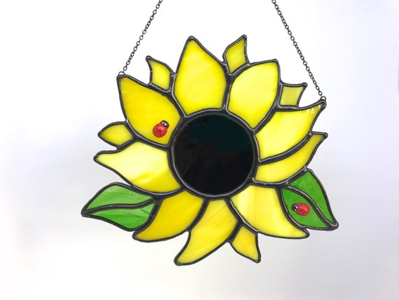 Large Sunflower With Ladybirds Stained Glass Suncatcher, Wall Art Home Decor, Birthday Gift, Garden Ornament