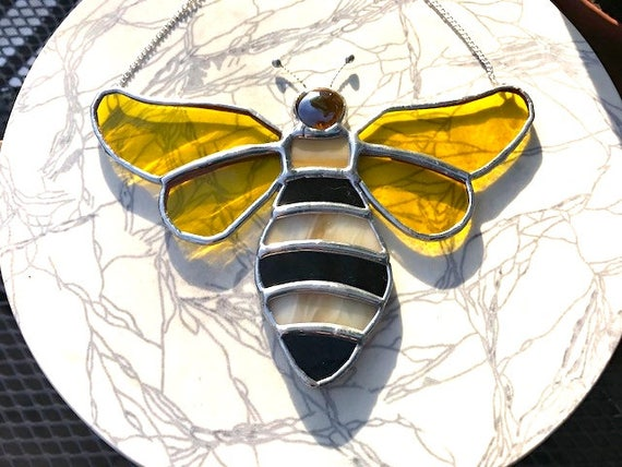 Honey Winged Bee Stained Glass Suncatcher Home Decor, Honey Lover Birthday Gift, Window Ornament