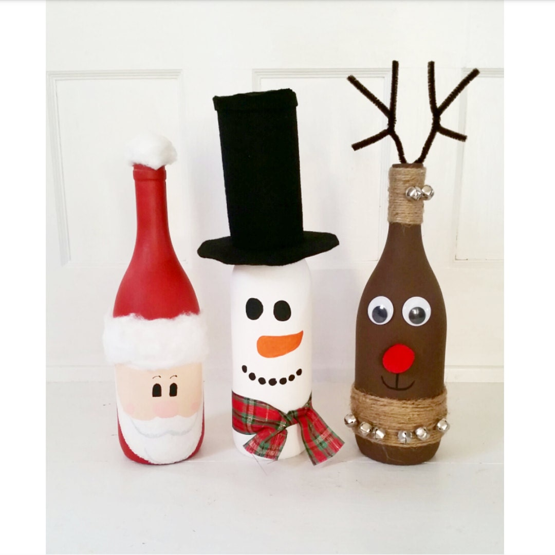 Wine Bottle Home Decor: Wine Bottle Christmas Decor / Wine Bottle Decor / Santa