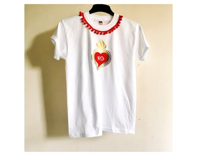 Pompom and Sacred Heart Print White womens T shirt