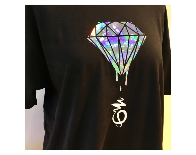 UNISEX Black T shirt with holographic design