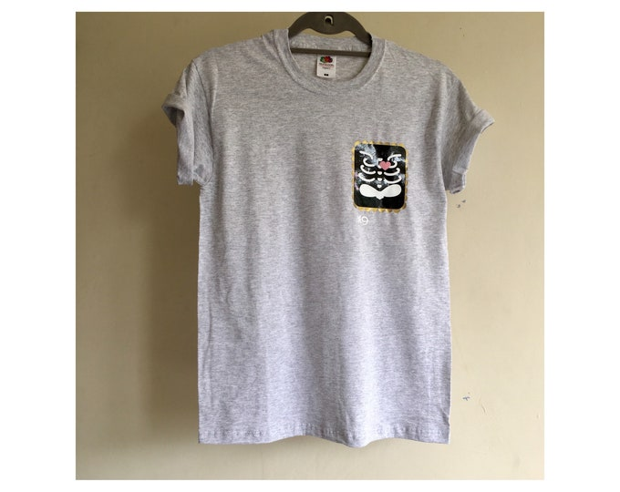 Heather Grey Unisex T-shirt with HTV Hert Scan Print