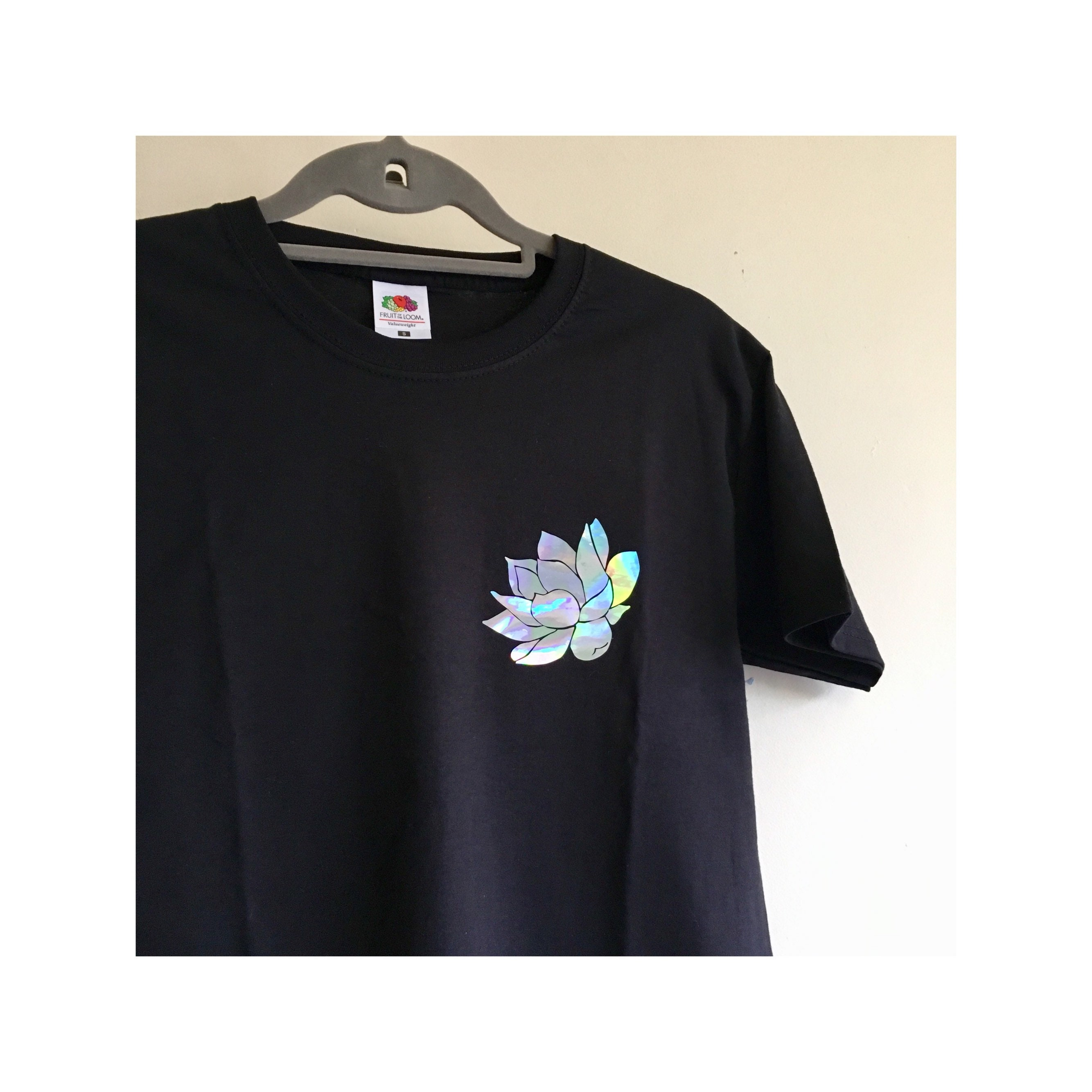 Black T Shirt With Holographic Lotus Flower Print