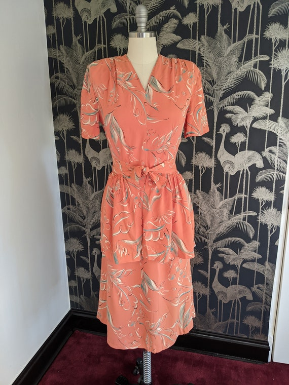1940's Novelty Print Two Piece Day Dress matching