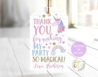 Unicorn Thank You Tag, Unicorn Birthday Tag, Unicorn Party Favor Tag, Magical Birthday Favor, Rainbow Thank You Tag, Unicorn Birthday Decor