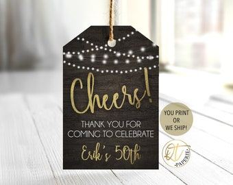 Cheers to 50 Years Favor Tag, Cheers Favor Tag, Rustic Favor Tag, Cheers Birthday Thank You, Adult Birthday Favor Tag, Thank You Tag
