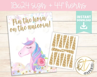 picture about Pin the Horn on the Unicorn Printable referred to as Unicorn pin the horn Etsy