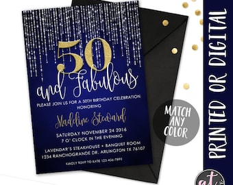 50 And Fabulous Invitation Fifty 50th Birthday Party
