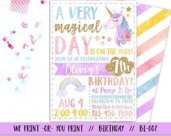 Unicorn Party Invitation Rainbow Magical Birthday