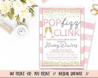 pop fizz clink bridal shower invitation bridal shower brunch invitation pop fizz clink invitation bridal shower invitation pink gold