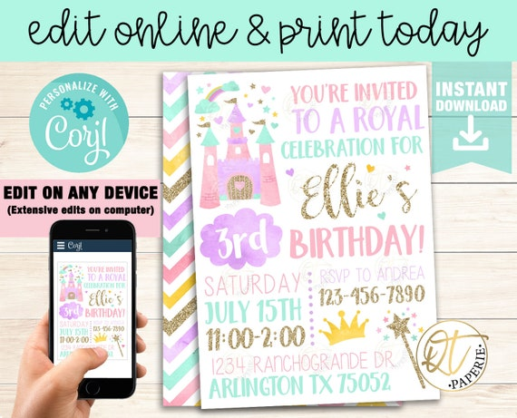Princess Invitation Template Princess Birthday Invitation Etsy