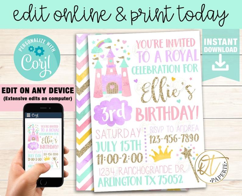 Princess Invitation Template Princess Birthday Invitation Etsy