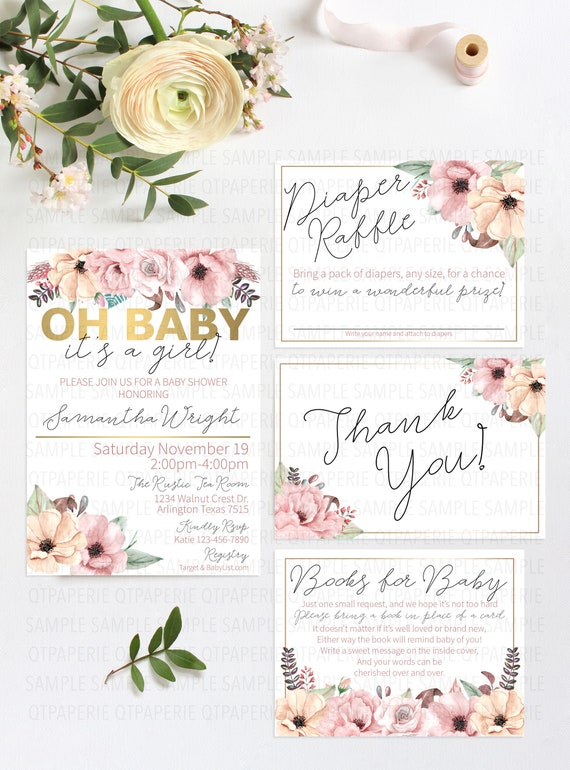 Oh Baby Baby Shower Invitation It S A Girl Baby Shower Etsy