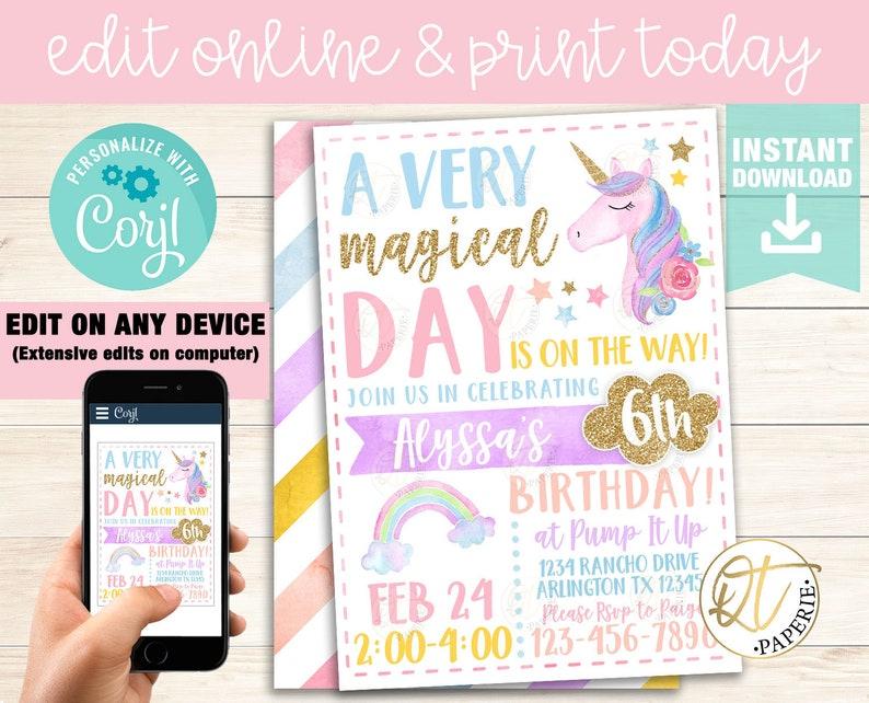 Unicorn Invitation Template Birthday