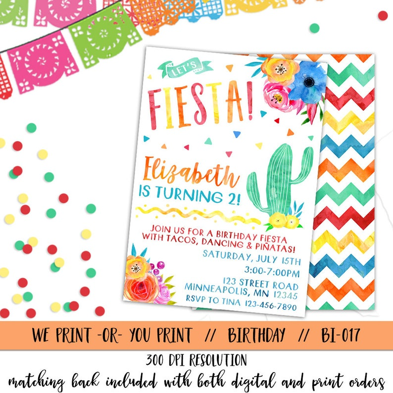 Fiesta Invitation Birthday Invite Spanish