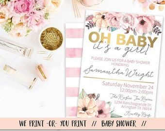 It's a Girl Baby Shower Invitation, Floral Baby Shower, Oh Baby Babyshower, Chic Girl Baby Shower Invitation, Pink Gold Baby Shower Invite