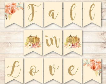 Fall in Love Banner, Fall in Love Baby Shower Banner, Fall in Love Wedding Banner, Fall Baby Shower, Fall Bridal Shower, Fall Babyshower