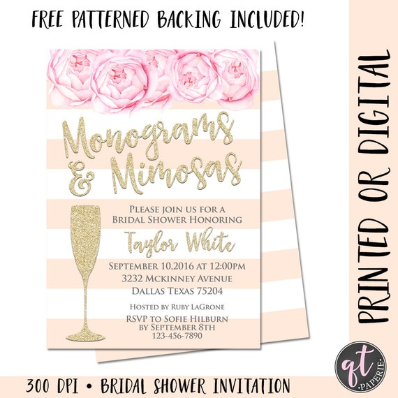fd8164838508 Monograms and Mimosas Bridal Shower Invitation Mimosa Bridal