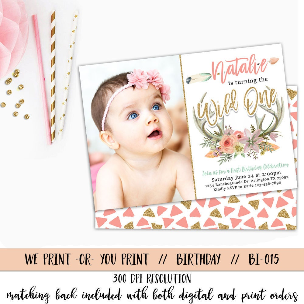 boho first birthday invitation boho birthday invitation wild etsy. Black Bedroom Furniture Sets. Home Design Ideas