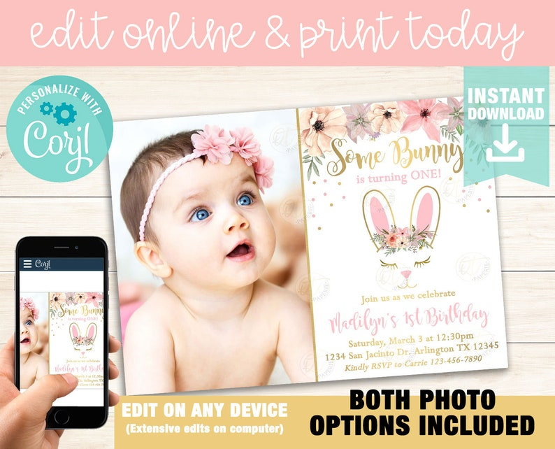 Bunny First Birthday Invitation Template Easter Some Invite Instant Download