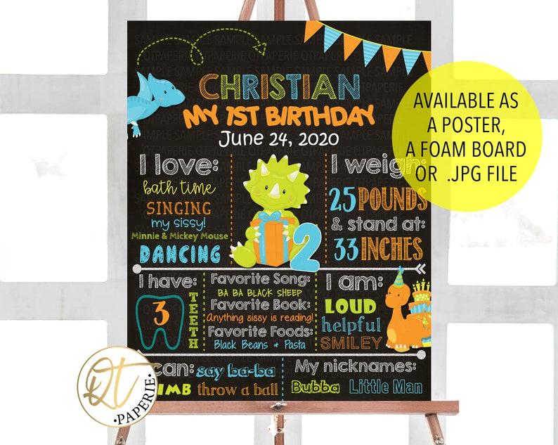 Dinosaur Birthday Decoration Dinosaur 1st Birthday Poster Dinosaur Birthday Sign Dinosaur First Birthday Chalkboard Sign Dinosaur Sign