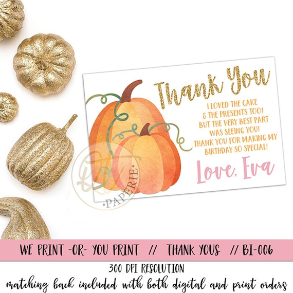 Pumpkin Thank You Card Pumpkin Birthday Thank You Pumpkin Etsy