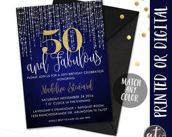 50 and Fabulous Invitation, Fifty and Fabulous Invitation, 50th Birthday Invitation, Fifty and Fabulous Party, Birthday Invitation, Party