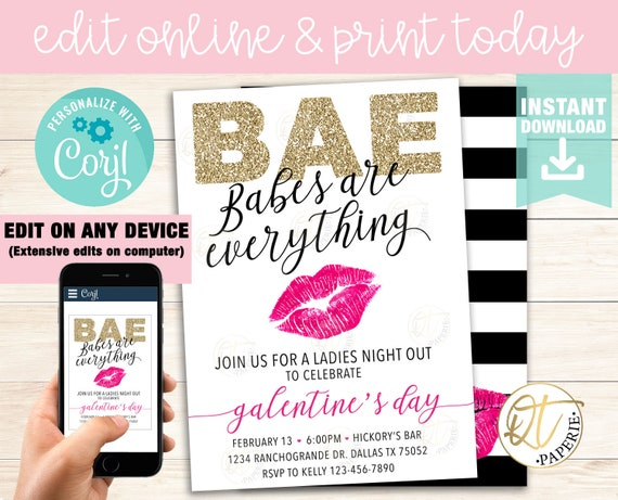 Galentines Day Invitation Template Galentines Invitation Etsy