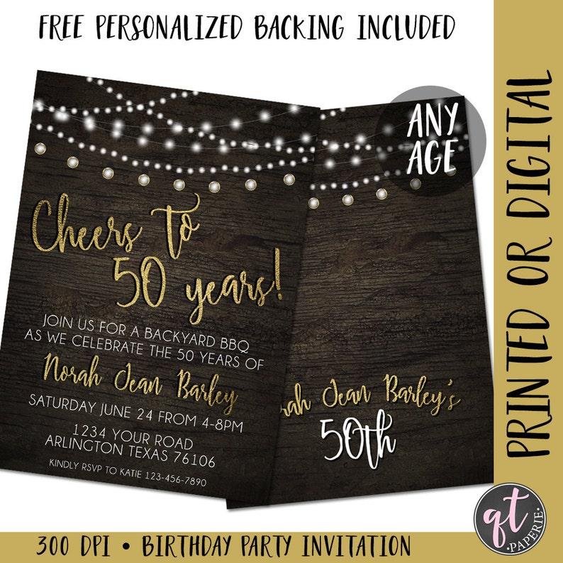 Cheers To 50 Years Birthday Invitation 50th