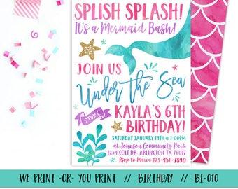 Mermaid Invitation, Under the Sea Invitation, Mermaid Birthday Invitation, Under the Sea Birthday, Mermaid Party, Sea Party
