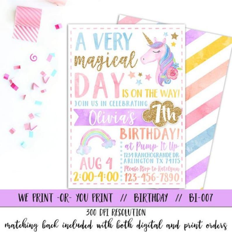 Unicorn Invitation Rainbow Magical Birthday
