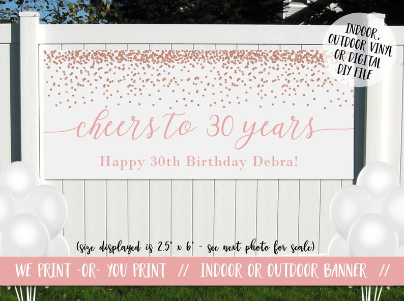 Glittery 30th Birthday Banner 30th Birthday Decoration 30th Birthday Vinyl Banner Cheers to 30 Years Banner Rose Gold Birthday Backdrop