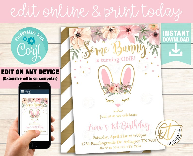 Bunny Birthday Invitation Template Easter Some Invite Instant Download