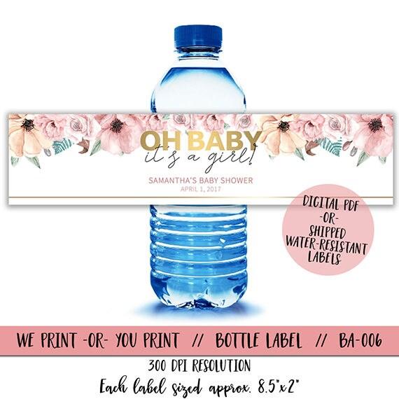 Floral Baby Shower Water Bottle Labels Babyshower Water Etsy