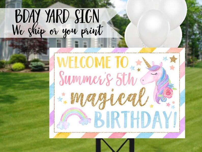 Unicorn Birthday Sign Yard