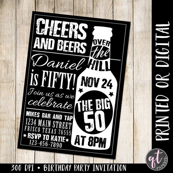 Cheers And Beers Invitation 50th Birthday Man