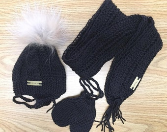Hat - scarf - mittens - child KIT