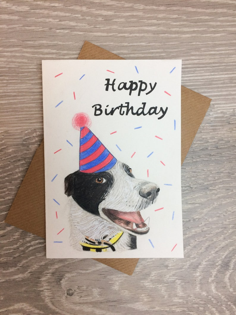 Your Dog Hand Drawn On A Birthday Card Personalised Happy