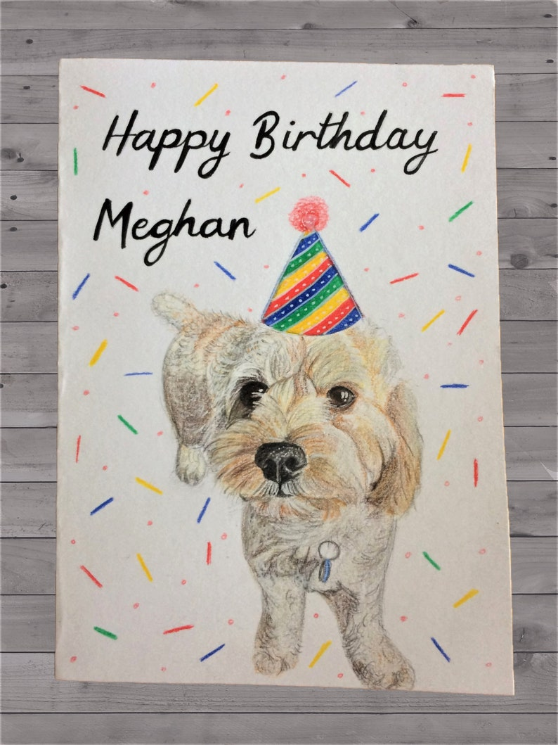 Your dog hand drawn on a Birthday card Personalised Happy Birthday dog card Birthday Card dog Hand drawn dog card