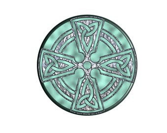 Celtic Cross On Marble Stain Glass Sticker And Suncatcher