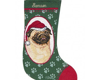 Pug Personalized Christmas Stocking