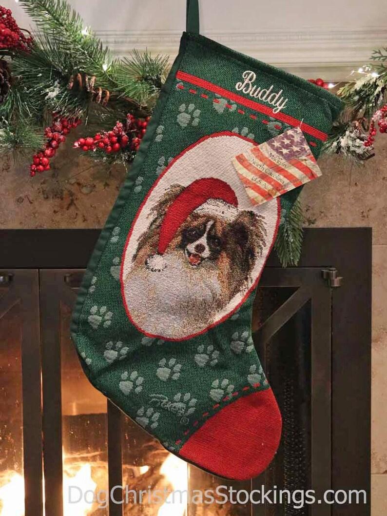 Papillon Personalized Christmas Stocking