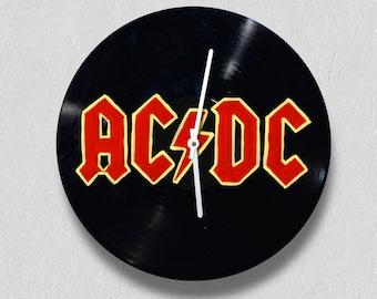 ACDC, vinyl clock,gift for women, gift for men, wall clock large, modern, vintage, gift ideas