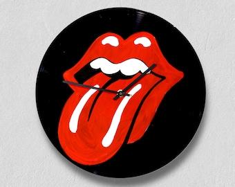Rolling Stones, vinyl clock,gift for women, gift for men, wall clock large, modern, vintage, gift ideas