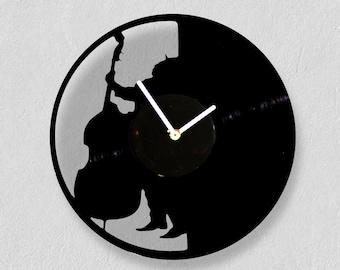 Jazz bass player, vinyl clock (cut), mother's day gift! Handmade/ wall clocks/ best gift idea/ vintage/ mothers day