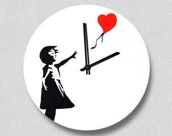 Girl with balloon, Banksy Painting, Banksy Decor, Banksy Design, Vinyl Record Wall Clock, Custom Gift, Banksy Paint, Wall Art